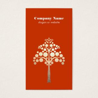 Modern Simple Tree Logo Orange Business Card