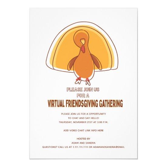 Modern Simple Turkey Virtual Friendsgiving Invitation