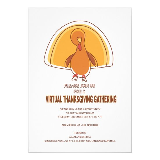 Modern Simple Turkey Virtual Thanksgiving Invitation