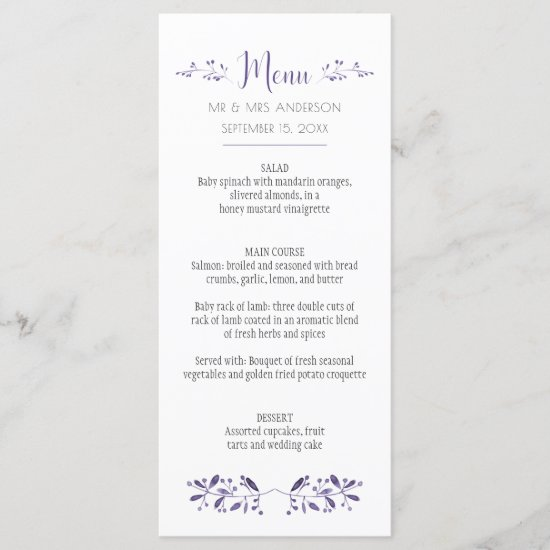 Modern Simple Ultra Violet Menu Cards