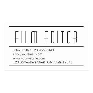 Modern Simple White Film Editor Business Card