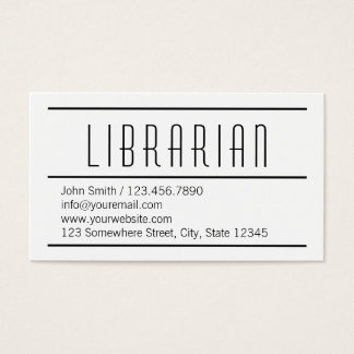 Modern Simple White Librarian Business Card