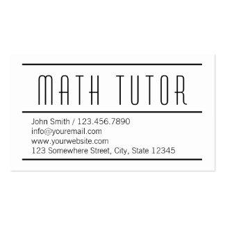 Modern Simple White Math Tutor Business Card