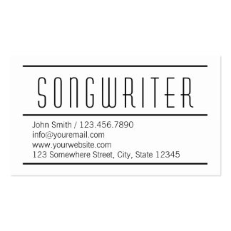 Modern Simple White Songwriter Business Card