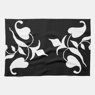 Modern Simple White Vine on Black Kitchen Towel