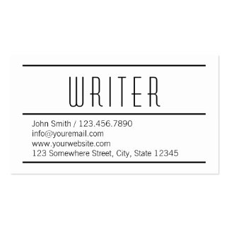 Modern Simple White Writer Business Card