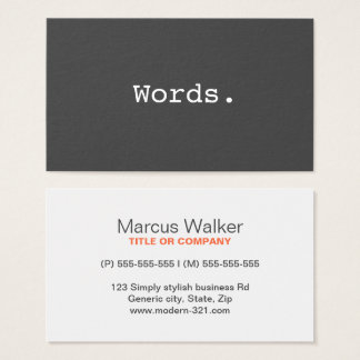 Modern simple writer publisher editor business card