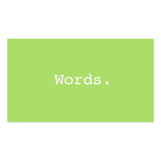 Modern simple writer publisher editor lime green Double-Sided standard business cards (Pack of 100)