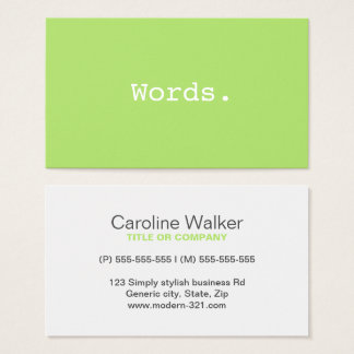 Modern simple writer publisher editor lime green business card
