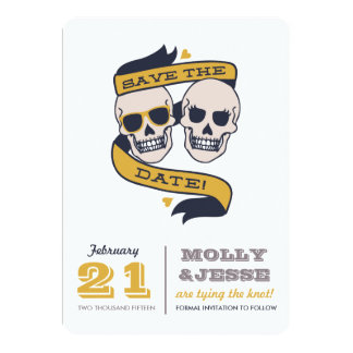 Modern Skeletons Save the Date - Navy and Mustard Card
