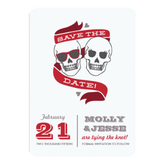 "Modern Skeletons Save the Date - Valentine Red 5"" X 7"" Invitation Card"