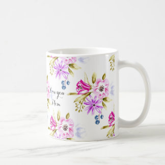 Modern Sketchy Floral Print Classic White Coffee Mug
