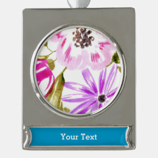 Modern Sketchy Flower Print Silver Plated Banner Ornament