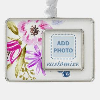 Modern Sketchy Flower Print Silver Plated Framed Ornament