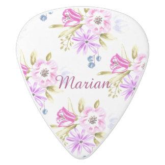 Modern Sketchy Flower Print White Delrin Guitar Pick