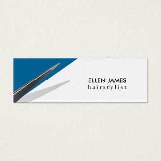 modern skinny budget hair stylist hairstylist blue mini business card
