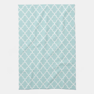 Modern Sky Blue and White Moroccan Quatrefoil Towel