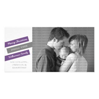 Modern Slant Holiday Photo Card Purple Gray