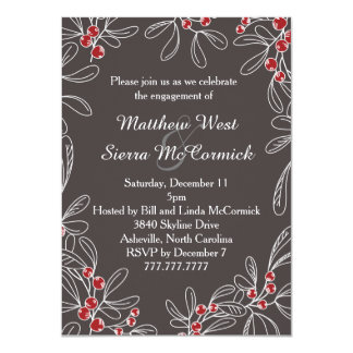 Modern Slate Mistletoe Holiday Engagement Party Card