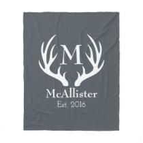 Modern Sleek White Deer Antlers - Personalized Fleece Blanket