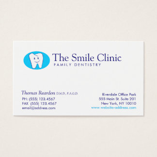 Modern Smiling Tooth Dentist Dental Care Business Card