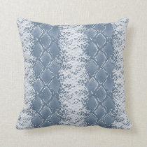 Modern Snakeskin Blue Pattern Throw Pillow
