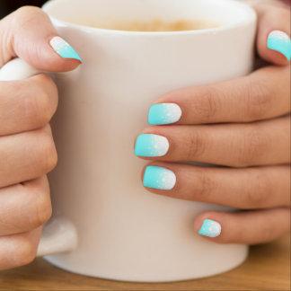 Modern Snow Dots Tron Blue Minx ® Nail Wraps