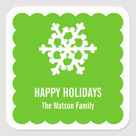 Modern snow flake green scallop christmas holiday square sticker