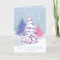 Modern Snow Tree CHANGE COLOR Christmas Holiday Card