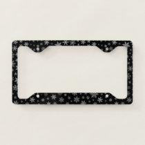 Modern Snowflake 2 -Black & Silver Grey- License Plate Frame