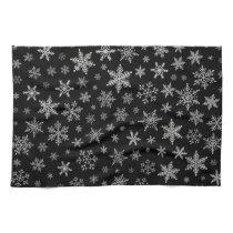 Modern Snowflake 2 -Black & Silver Grey- Towel