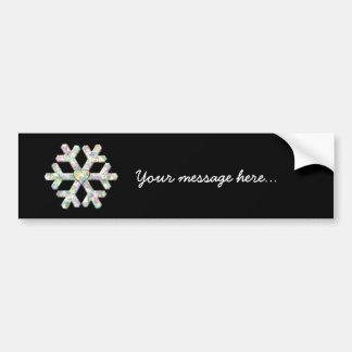 Modern Snowflake and Love Heart Bumper Sticker