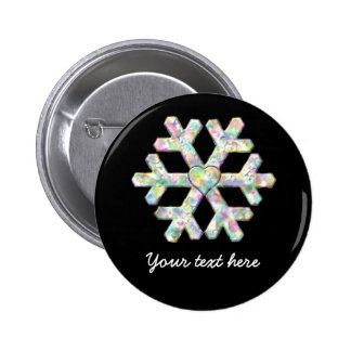 Modern Snowflake And Love Heart Pinback Button