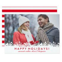 Modern Snowflake Berry Border Happy Holidays Photo Card