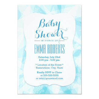Modern Snowflake Blue Crystal Baby Shower Card