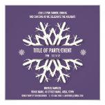 "Modern Snowflake Christmas Party Invitation Purple 5.25"" Square Invitation Card"