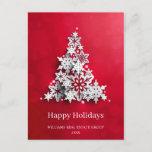 "Modern Snowflake Christmas Tree Corporate Greeting Postcard<br><div class=""desc"">Modern Snowflake Christmas Tree Corporate Greeting Postcard.</div>"