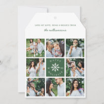 Modern Snowflake Eight Photo Collage Grid Photo Holiday Card