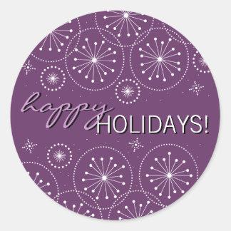 Modern Snowflake Happy Holiday Sticker