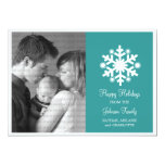 Modern Snowflake Holiday Flat Photo Card, Teal Invite