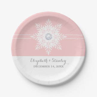 Modern snowflake pink, white winter wedding paper plate