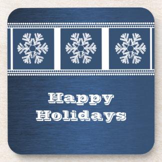 Modern Snowflakes Coaster Set, Blue