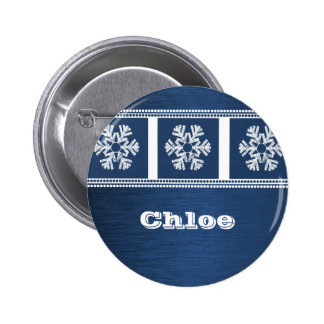 Modern Snowflakes Holiday Button, Royal Blue Pinback Button