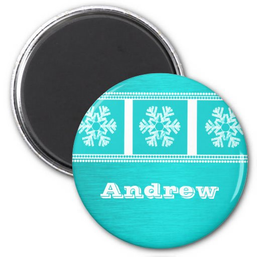 Modern Snowflakes Holiday Magnet, Teal