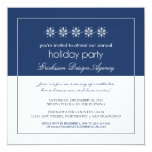 Modern Snowflakes Holiday Party Invitation (blue)