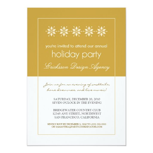 Modern Snowflakes Holiday Party Invitation (gold)