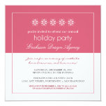 Modern Snowflakes Holiday Party Invitation (pink)