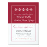 Modern Snowflakes Holiday Party Invitation (red)