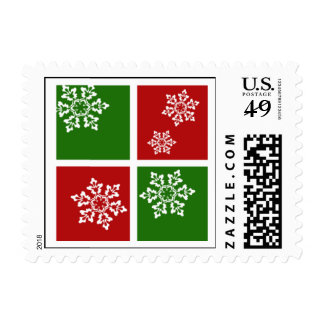 Modern Snowflakes Holiday Postage (red & green)