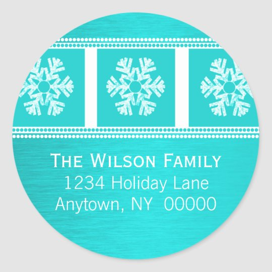 Modern Snowflakes Holiday Stickers, Teal Classic Round Sticker
